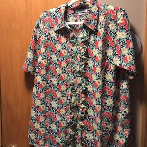 sag harbor Ruffled Button up blouse. Size 14